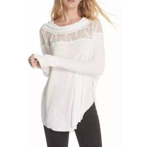 FREE PEOPLE off-white flowy waffle lace top size S